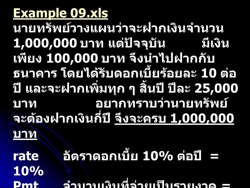 Example 09.xls Example 09.xls นายทรัพย์วางแผนว่าจะฝากเงินจำนวน 1,000,000 บาท แต่ปัจจุบัน มีเงิน เพียง 100,000 บาท จึงนำไปฝากกับ ธนาคาร โดยได้รับดอกเบี