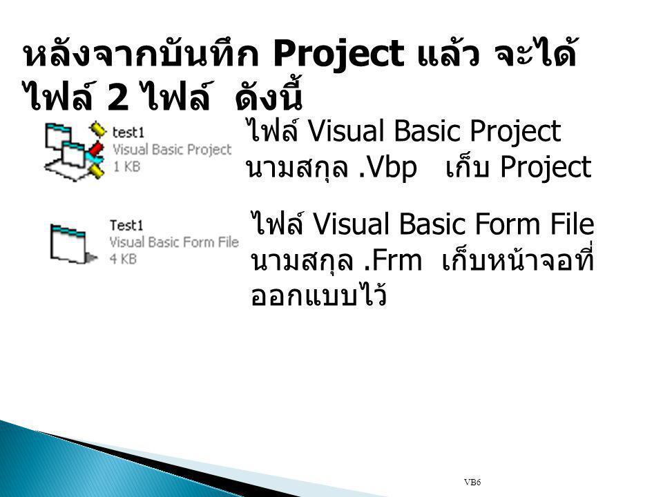 ไฟล์ Visual Basic Project นามสกุล.Vbp เก็บ Project ไฟล์ Visual Basic Form File นามสกุล.Frm เก็บหน้าจอที่ ออกแบบไว้ หลังจากบันทึก Project แล้ว จะได้ ไฟล์ 2 ไฟล์ ดังนี้