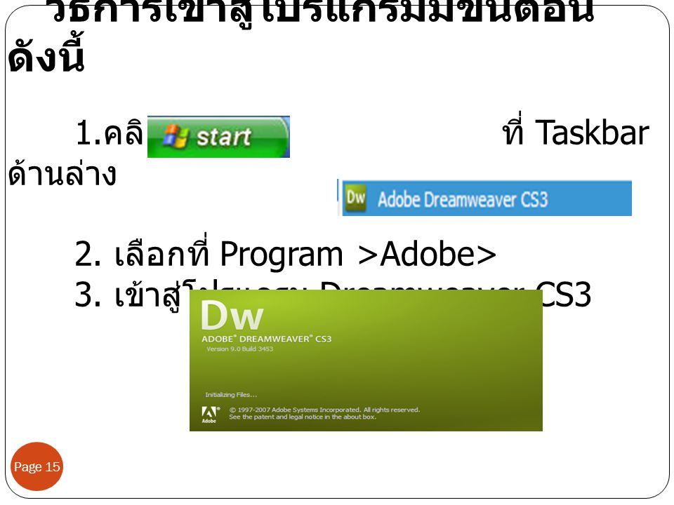 Page 15 วิธีการเข้าสู่โปรแกรมมีขั้นตอน ดังนี้ 1. คลิก ที่ Taskbar ด้านล่าง 2. เลือกที่ Program >Adobe> 3. เข้าสู่โปรแกรม Dreamweaver CS3