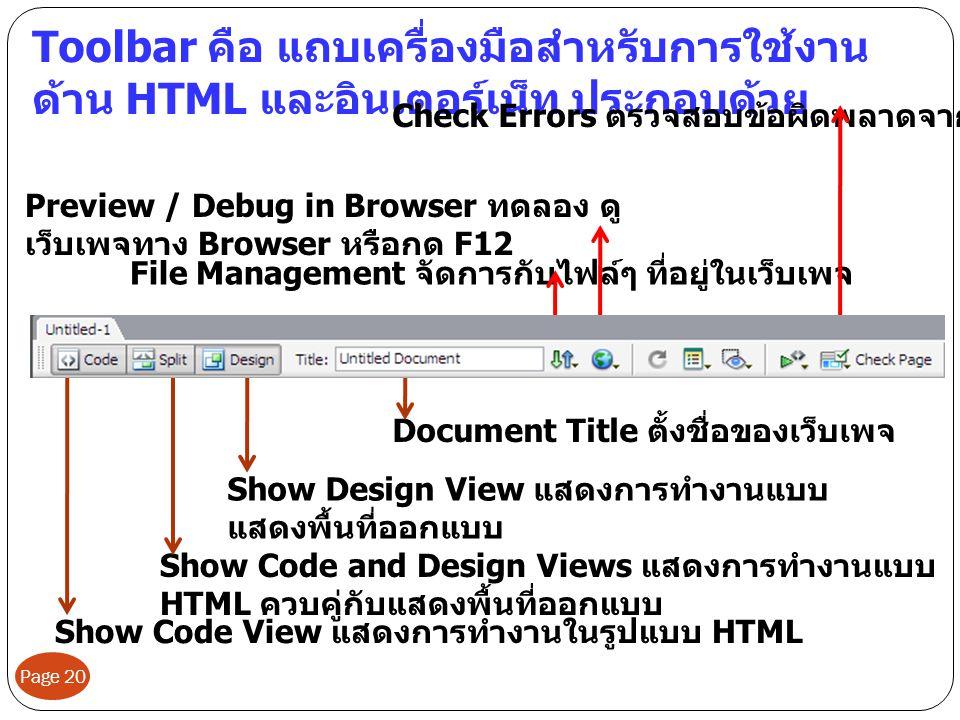 Page 20 Toolbar คือ แถบเครื่องมือสำหรับการใช้งาน ด้าน HTML และอินเตอร์เน็ท ประกอบด้วย Show Code View แสดงการทำงานในรูปแบบ HTML Show Code and Design Vi