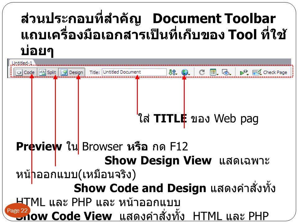 ส่วนประกอบที่สำคัญ Document Toolbar แถบเครื่องมือเอกสารเป็นที่เก็บของ Tool ที่ใช้ บ่อยๆ ใส่ TITLE ของ Web pag Preview ใน Browser หรือ กด F12 Show Design View แสดเฉพาะ หน้าออกแบบ ( เหมือนจริง ) Show Code and Design แสดงคำสั่งทั้ง HTML และ PHP และ หน้าออกแบบ Show Code View แสดงคำสั่งทั้ง HTML และ PHP Page 22