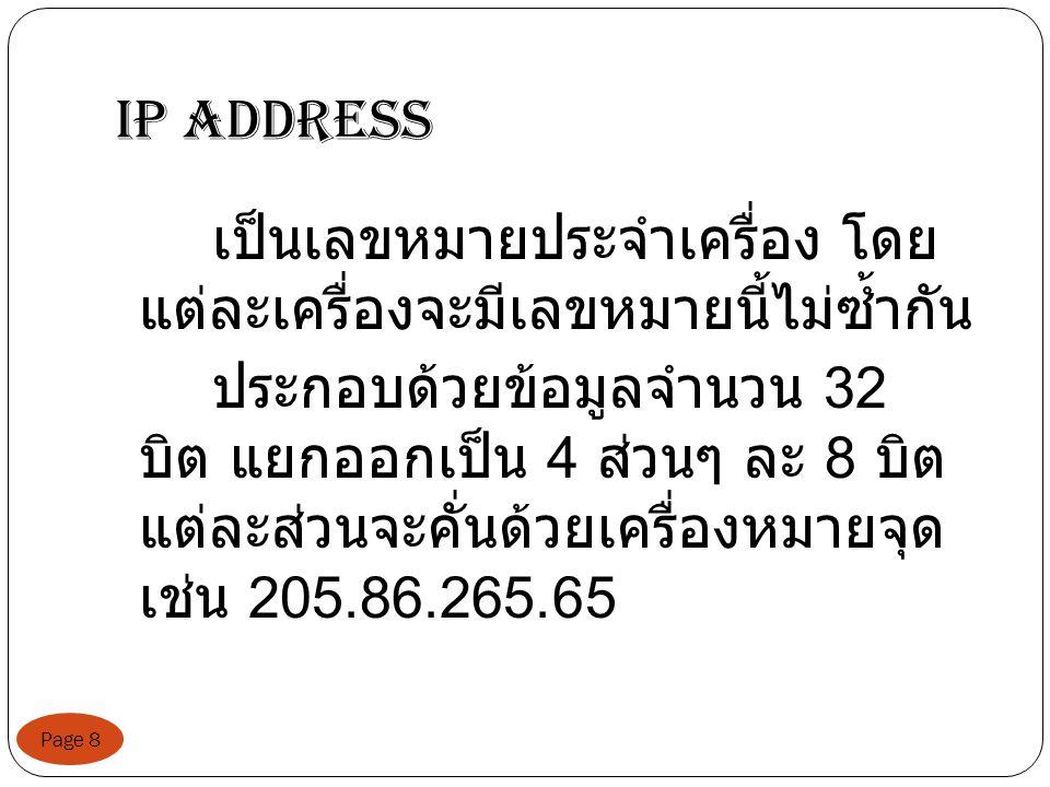 IP address Page 8 เป็นเลขหมายประจำเครื่อง โดย แต่ละเครื่องจะมีเลขหมายนี้ไม่ซ้ำกัน ประกอบด้วยข้อมูลจำนวน 32 บิต แยกออกเป็น 4 ส่วนๆ ละ 8 บิต แต่ละส่วนจะคั่นด้วยเครื่องหมายจุด เช่น 205.86.265.65