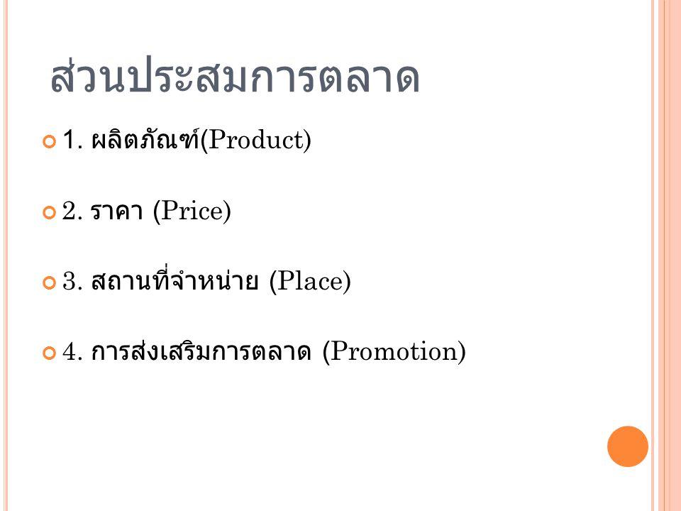 ส่วนประสมการตลาด 1. ผลิตภัณฑ์ (Product) 2. ราคา (Price) 3. สถานที่จำหน่าย (Place) 4. การส่งเสริมการตลาด (Promotion)