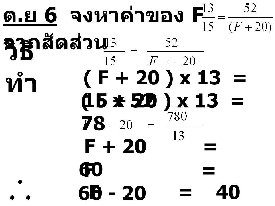 ต. ย 6 จงหาค่าของ F จากสัดส่วน วิธี ทำ ( F + 20 ) x 13 = 15 x 52 ( F + 20 ) x 13 = 78 F + 20 = 60 F = 60 - 20 F = 40