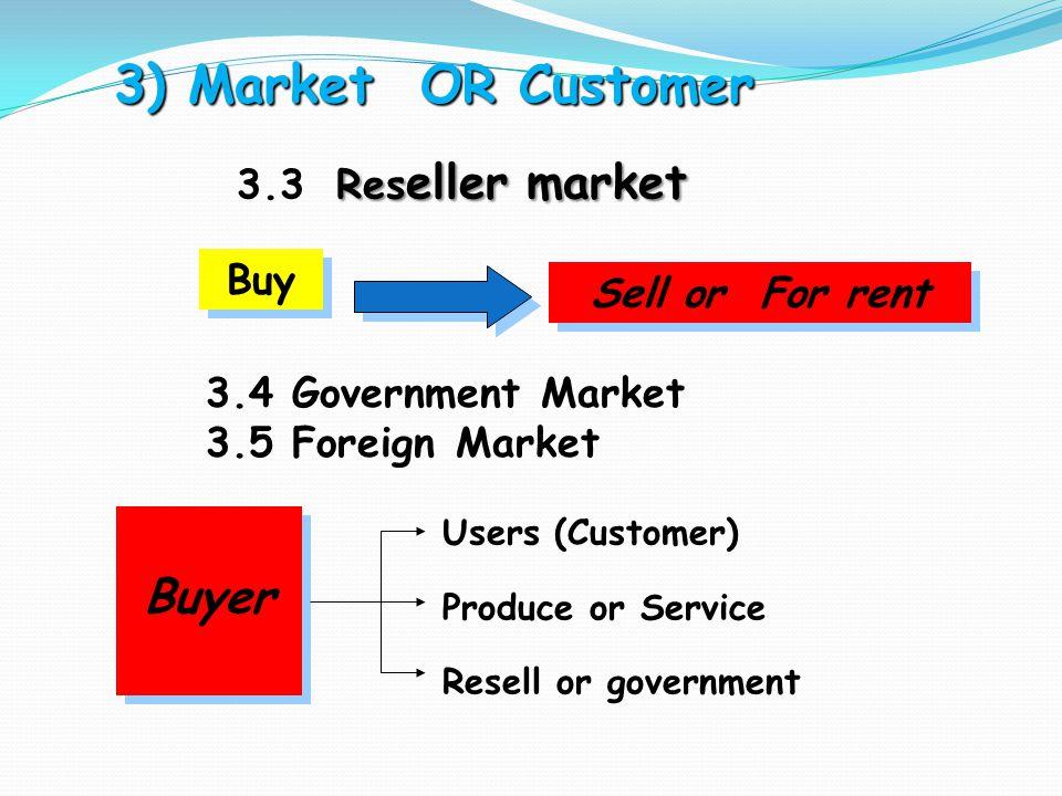 3) Market OR Customer 3) Market OR Customer Res eller market 3.3 Res eller market Buy Sell or For rent 3.4 Government Market 3.5 Foreign Market Buyer
