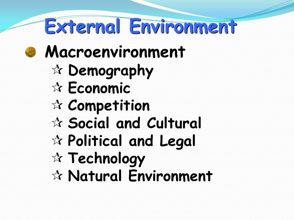 External Environment Macroenvironment ¶Demography ¶ Economic ¶Competition ¶Social and Cultural ¶Political and Legal ¶Technology ¶Natural Environment