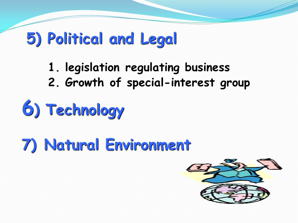 5) Political and Legal 1. legislation regulating business 2. Growth of special-interest group 6 ) Technology 7) Natural Environment