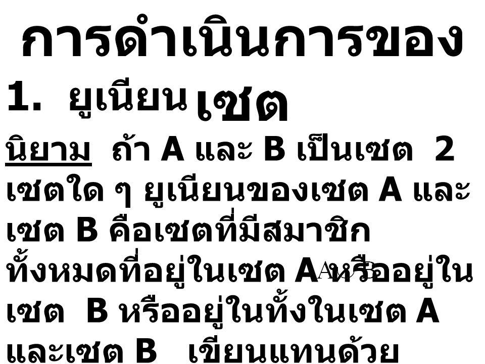การดำเนินการของ เซต 1. ยูเนียน นิยาม ถ้า A และ B เป็นเซต 2 เซตใด ๆ ยูเนียนของเซต A และ เซต B คือเซตที่มีสมาชิก ทั้งหมดที่อยู่ในเซต A หรืออยู่ใน เซต B