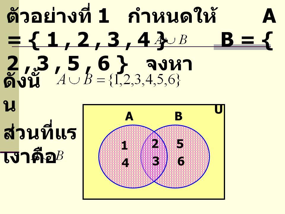 ตัวอย่างที่ 1 กำหนดให้ A = { 1, 2, 3, 4 } B = { 2, 3, 5, 6 } จงหา ดังนั้ น AB U 2 3 5 6 1 4 ส่วนที่แร เงาคือ