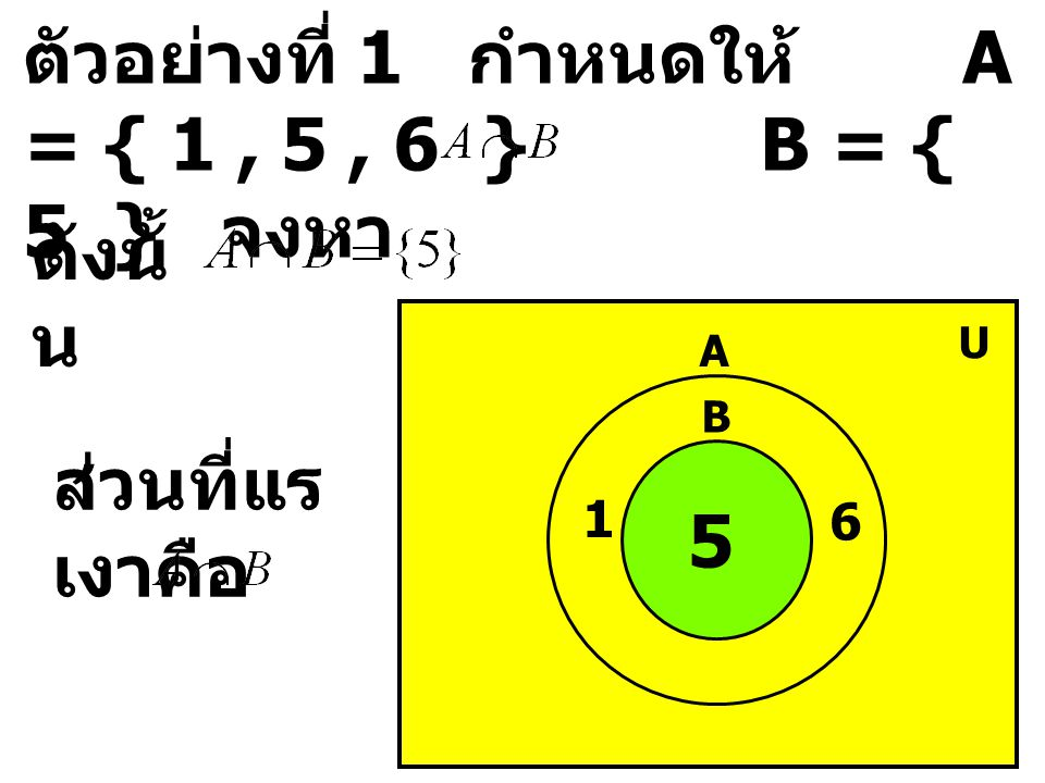 ตัวอย่างที่ 1 กำหนดให้ A = { 1, 5, 6 } B = { 5 } จงหา ดังนั้ น A B U 1 6 5 ส่วนที่แร เงาคือ