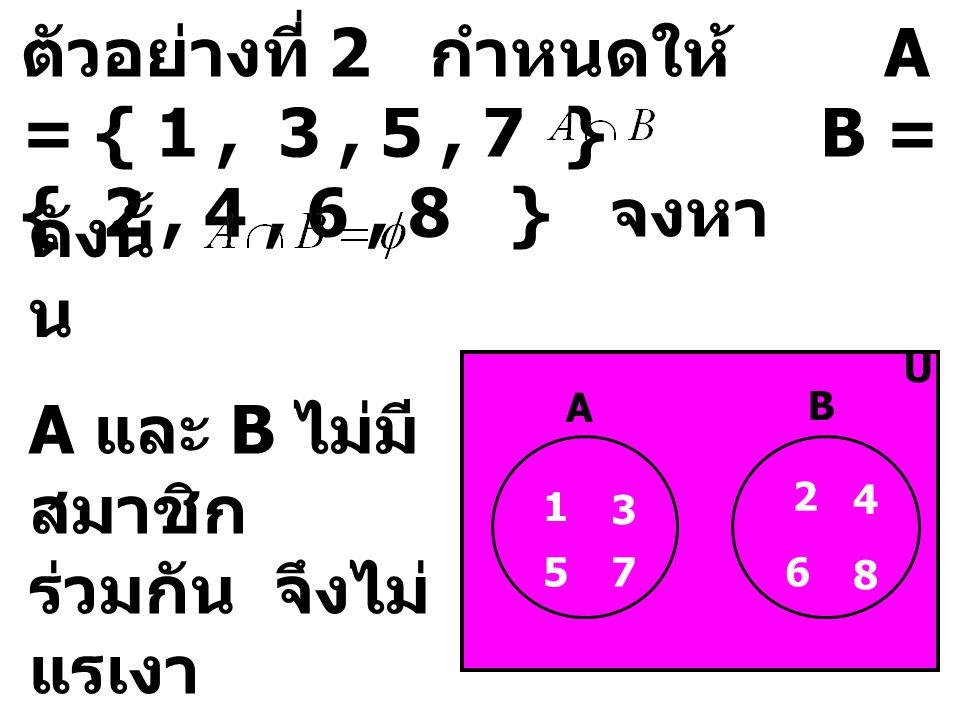 ตัวอย่างที่ 2 กำหนดให้ A = { 1, 3, 5, 7 } B = { 2, 4, 6, 8 } จงหา ดังนั้ น U 2 4 1 3 A B 5 6 7 8 A และ B ไม่มี สมาชิก ร่วมกัน จึงไม่ แรเงา