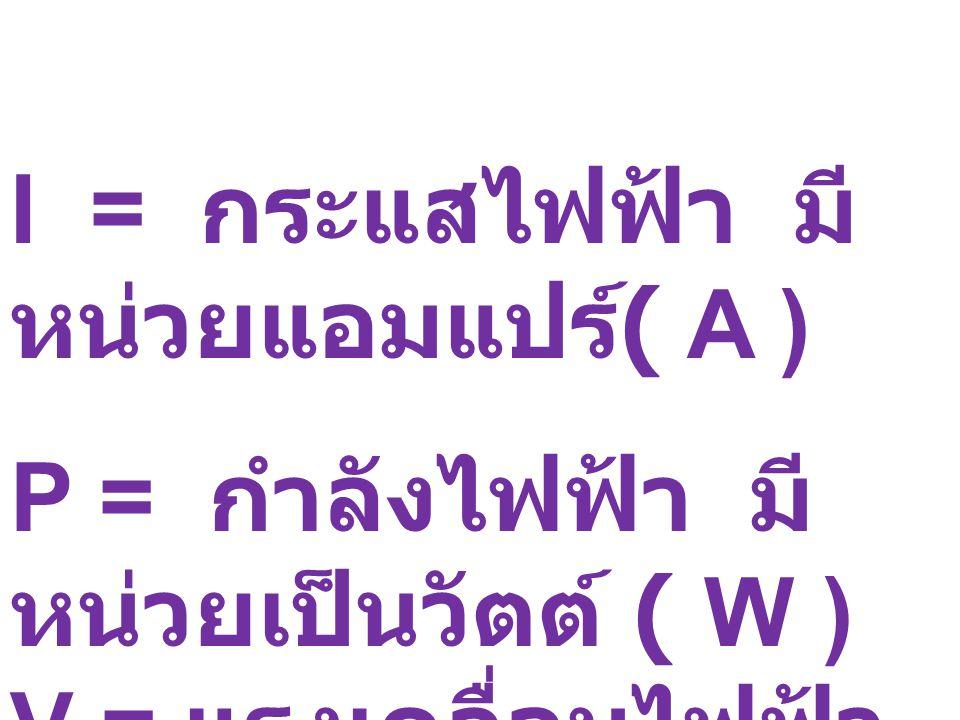 I = กระแสไฟฟ้า มี หน่วยแอมแปร์ ( A ) P = กำลังไฟฟ้า มี หน่วยเป็นวัตต์ ( W ) V = แรงเคลื่อนไฟฟ้า หรือความต่าง ศักย์ไฟฟ้า มีหน่วย เป็นโวลต์