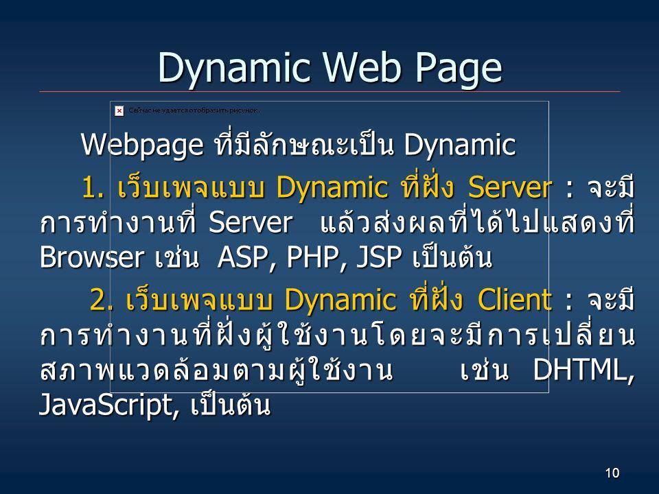 10 Dynamic Web Page Webpage ที่มีลักษณะเป็น Dynamic 1. เว็บเพจแบบ Dynamic ที่ฝั่ง Server : จะมี การทำงานที่ Server แล้วส่งผลที่ได้ไปแสดงที่ Browser เช
