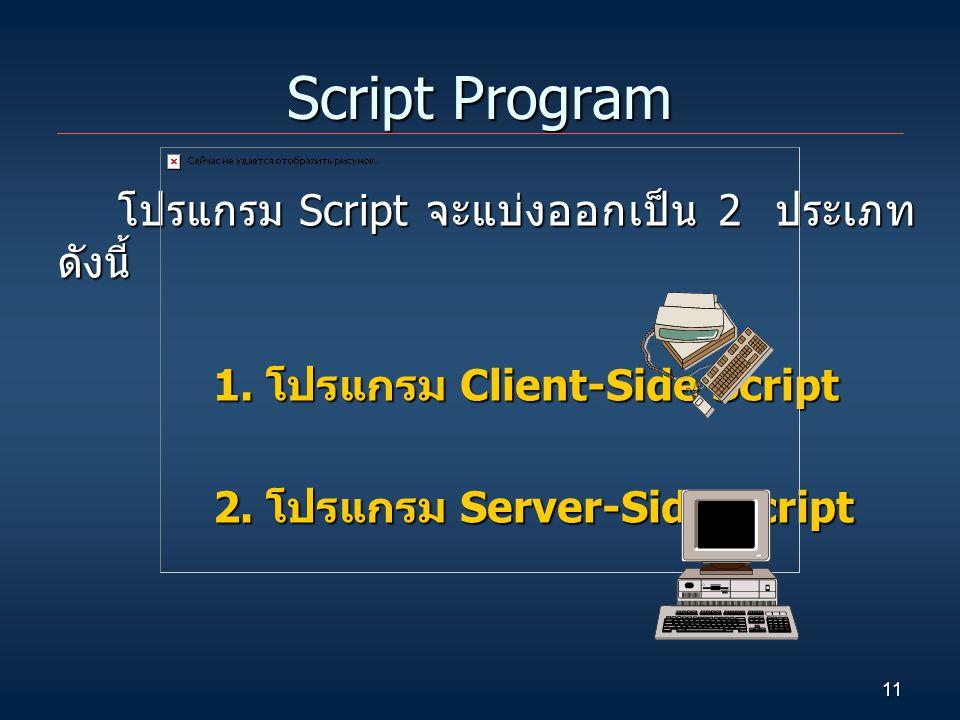 11 Script Program โปรแกรม Script จะแบ่งออกเป็น 2 ประเภท ดังนี้ 1. โปรแกรม Client-Side Script 2. โปรแกรม Server-Side Script