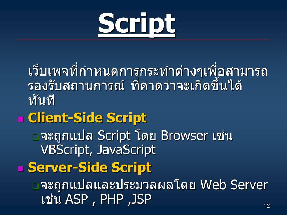 12 Script Script เว็บเพจที่กำหนดการกระทำต่างๆเพื่อสามารถ รองรับสถานการณ์ ที่คาดว่าจะเกิดขึ้นได้ ทันที Client-Side Script Client-Side Script  จะถูกแปล Script โดย Browser เช่น VBScript, JavaScript Server-Side Script Server-Side Script  จะถูกแปลและประมวลผลโดย Web Server เช่น ASP, PHP,JSP