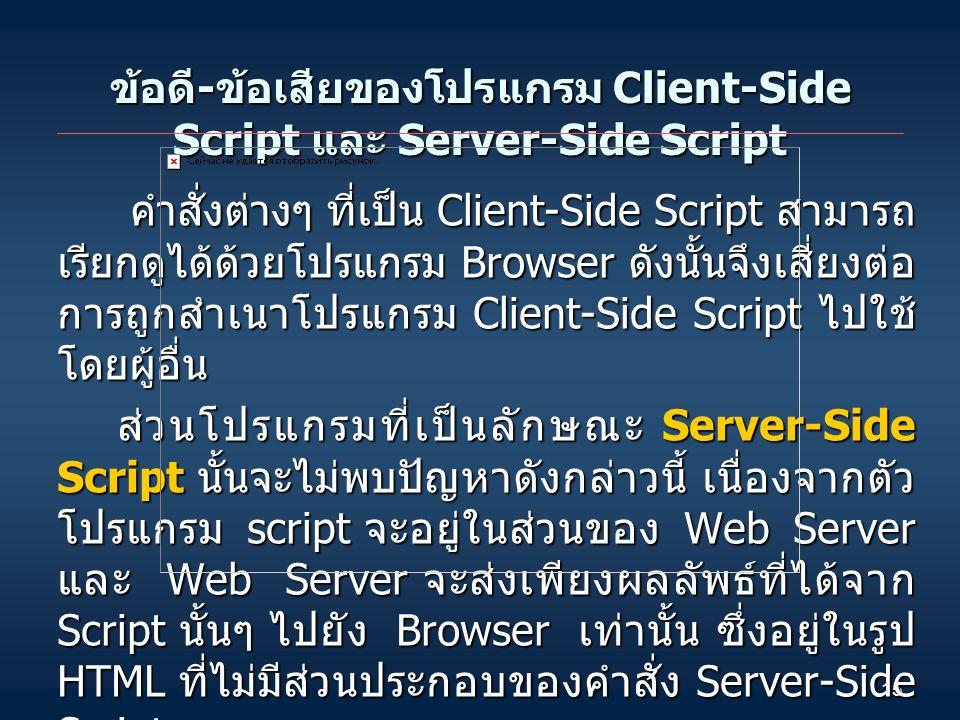 15 ข้อดี - ข้อเสียของโปรแกรม Client-Side Script และ Server-Side Script คำสั่งต่างๆ ที่เป็น Client-Side Script สามารถ เรียกดูได้ด้วยโปรแกรม Browser ดังนั้นจึงเสี่ยงต่อ การถูกสำเนาโปรแกรม Client-Side Script ไปใช้ โดยผู้อื่น คำสั่งต่างๆ ที่เป็น Client-Side Script สามารถ เรียกดูได้ด้วยโปรแกรม Browser ดังนั้นจึงเสี่ยงต่อ การถูกสำเนาโปรแกรม Client-Side Script ไปใช้ โดยผู้อื่น ส่วนโปรแกรมที่เป็นลักษณะ Server-Side Script นั้นจะไม่พบปัญหาดังกล่าวนี้ เนื่องจากตัว โปรแกรม script จะอยู่ในส่วนของ Web Server และ Web Server จะส่งเพียงผลลัพธ์ที่ได้จาก Script นั้นๆ ไปยัง Browser เท่านั้น ซึ่งอยู่ในรูป HTML ที่ไม่มีส่วนประกอบของคำสั่ง Server-Side Script