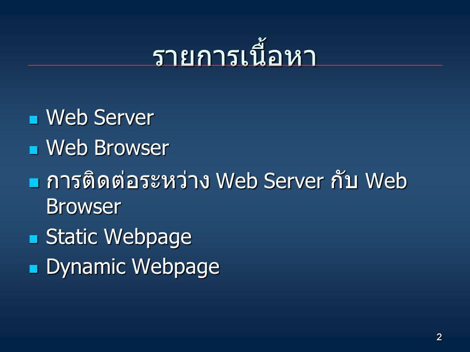 2 รายการเนื้อหา Web Server Web Server Web Browser Web Browser การติดต่อระหว่าง Web Server กับ Web Browser การติดต่อระหว่าง Web Server กับ Web Browser Static Webpage Static Webpage Dynamic Webpage Dynamic Webpage
