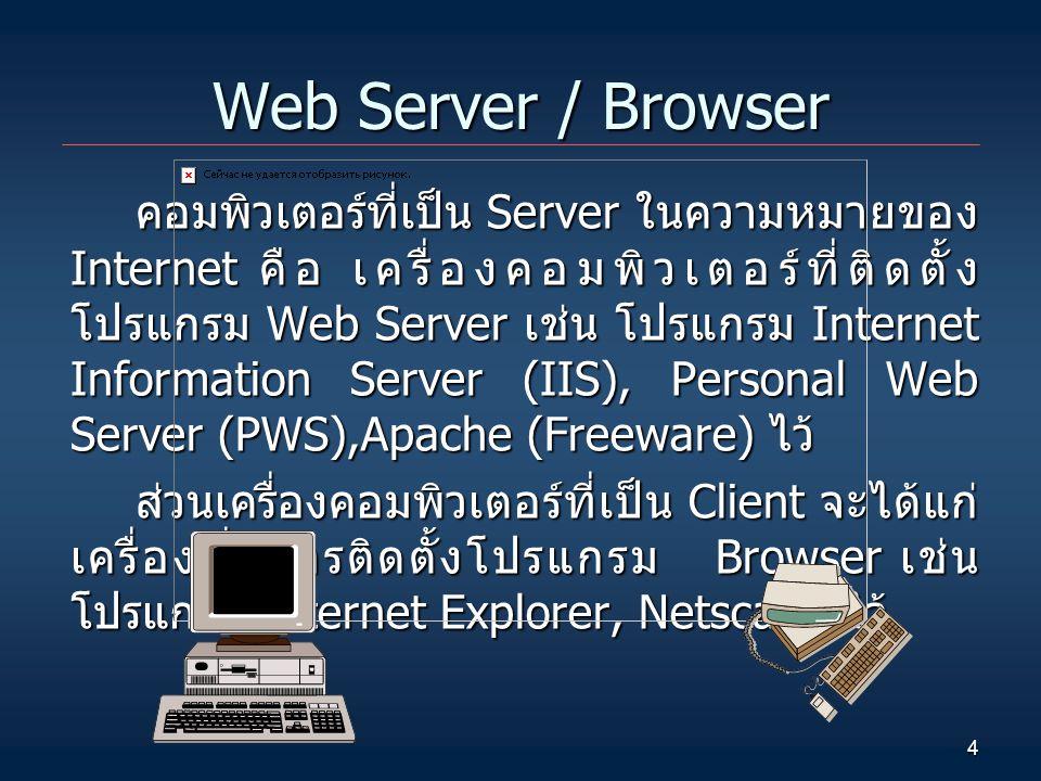 4 Web Server / Browser คอมพิวเตอร์ที่เป็น Server ในความหมายของ Internet คือ เครื่องคอมพิวเตอร์ที่ติดตั้ง โปรแกรม Web Server เช่น โปรแกรม Internet Info