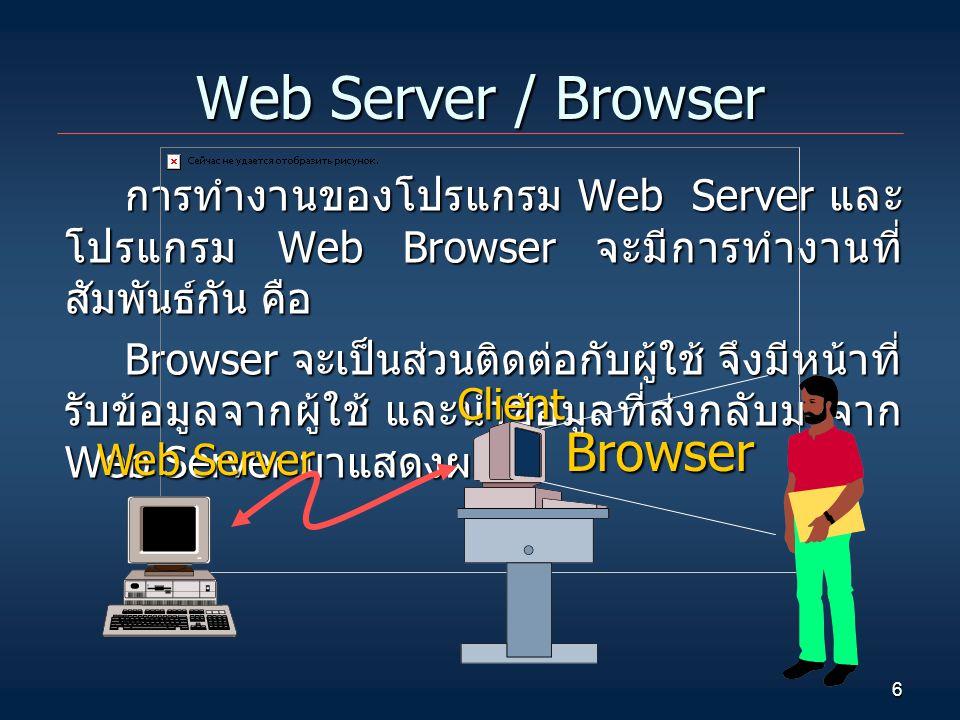 6 Web Server / Browser การทำงานของโปรแกรม Web Server และ โปรแกรม Web Browser จะมีการทำงานที่ สัมพันธ์กัน คือ Browser จะเป็นส่วนติดต่อกับผู้ใช้ จึงมีหน้าที่ รับข้อมูลจากผู้ใช้ และนำข้อมูลที่ส่งกลับมาจาก Web Server มาแสดงผล Web Server Client Browser