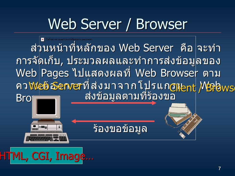 7 Web Server / Browser ส่วนหน้าที่หลักของ Web Server คือ จะทำ การจัดเก็บ, ประมวลผลและทำการส่งข้อมูลของ Web Pages ไปแสดงผลที่ Web Browser ตาม ความต้องการที่ส่งมาจากโปรแกรม Web Browser Web Server HTML, CGI, Image… Client / Browser ร้องขอข้อมูล ส่งข้อมูลตามที่ร้องขอ