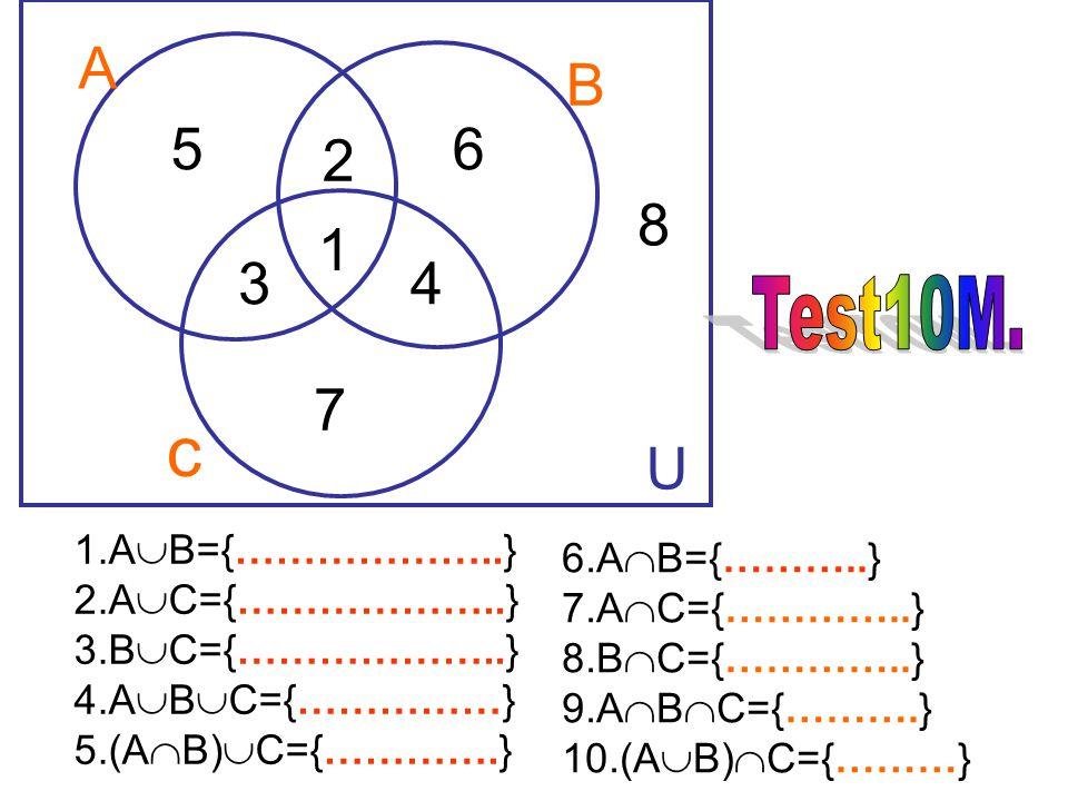 จากรูปภาพจงหาสมาชิกของ เซต 1.U={0,1,2,3,4,5,6,7,8,9} 2. A- B={5} 3. A - C={3,5} 4. B- C={3,9} 5. A -B - C={5} 6. A={0,1,4,6,7,8,9} 7. C={1,3,5,7,8,9}