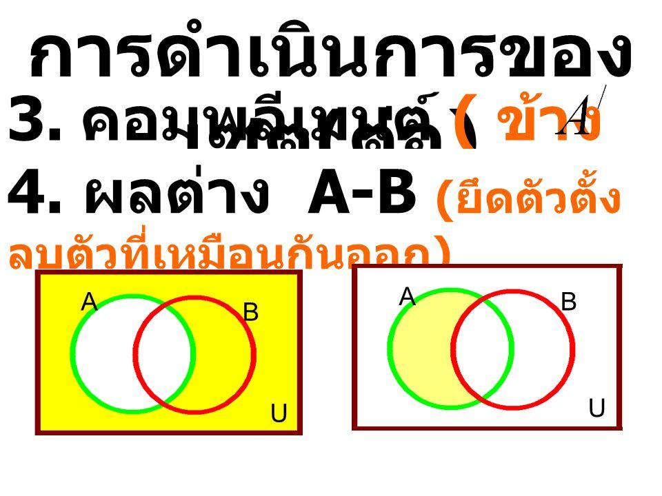 จากรูปภาพจงหาสมาชิกของ เซต 1.U={____________} 2. A  B={__________} 3. A  C={____________} 4. B  C={_____________} 5. A  B  C={___________} 6. A 