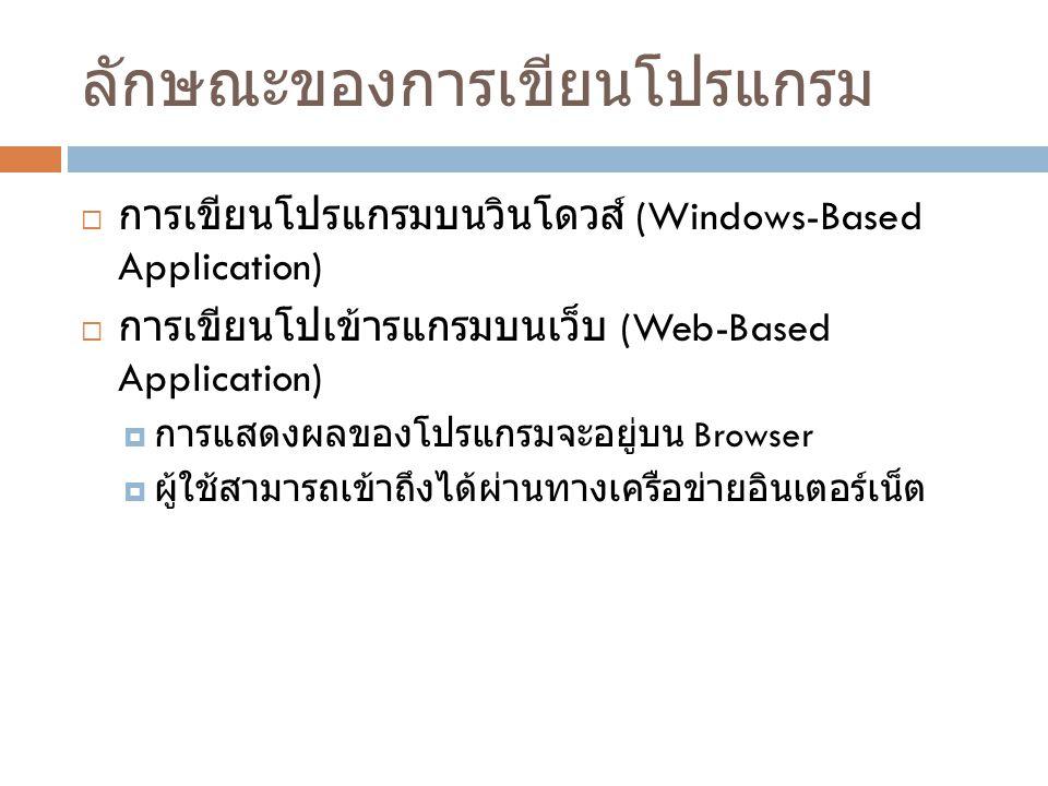ลักษณะของการเขียนโปรแกรม  การเขียนโปรแกรมบนวินโดวส์ (Windows-Based Application)  การเขียนโปเข้ารแกรมบนเว็บ (Web-Based Application)  การแสดงผลของโปร