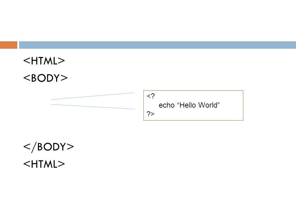 "<? echo ""Hello World"" ?>"