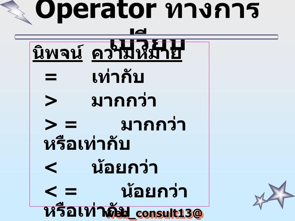 web_consult13@ hotmail.com Operator ทางการ เปรียบ นิพจน์ความหมาย = เท่ากับ > มากกว่า > = มากกว่า หรือเท่ากับ < น้อยกว่า < = น้อยกว่า หรือเท่ากับ ไม่เท่ากับ