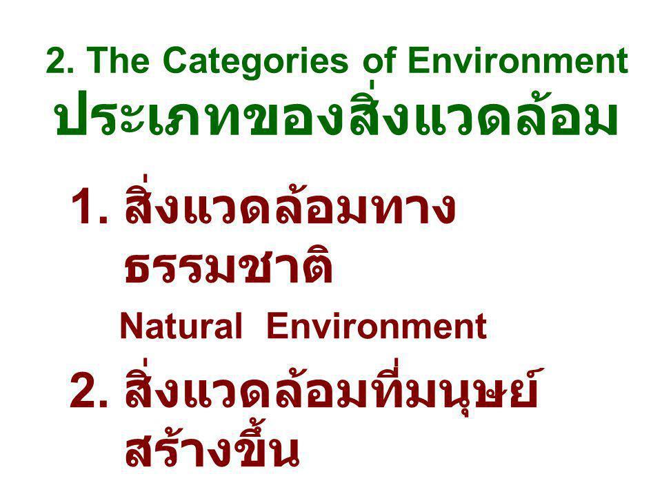 2. The Categories of Environment ประเภทของสิ่งแวดล้อม 1. สิ่งแวดล้อมทาง ธรรมชาติ Natural Environment 2. สิ่งแวดล้อมที่มนุษย์ สร้างขึ้น Man-made Enviro