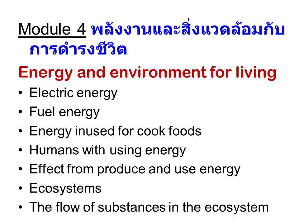 Module 4 พลังงานและสิ่งแวดล้อมกับ การดำรงชีวิต Energy and environment for living Electric energy Fuel energy Energy inused for cook foods Humans with