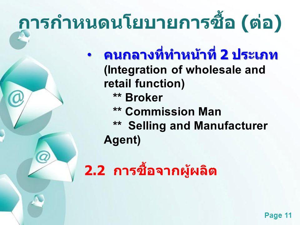 Powerpoint Templates Page 11 การกำหนดนโยบายการซื้อ ( ต่อ ) คนกลางที่ทำหน้าที่ 2 ประเภท คนกลางที่ทำหน้าที่ 2 ประเภท (Integration of wholesale and retai
