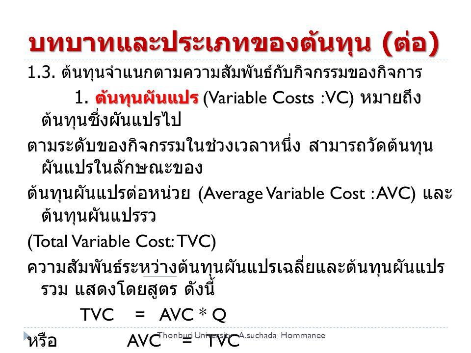 ต้นทุนผันแปร (Variable Costs : VC) ต้นทุนคงที่ 2.
