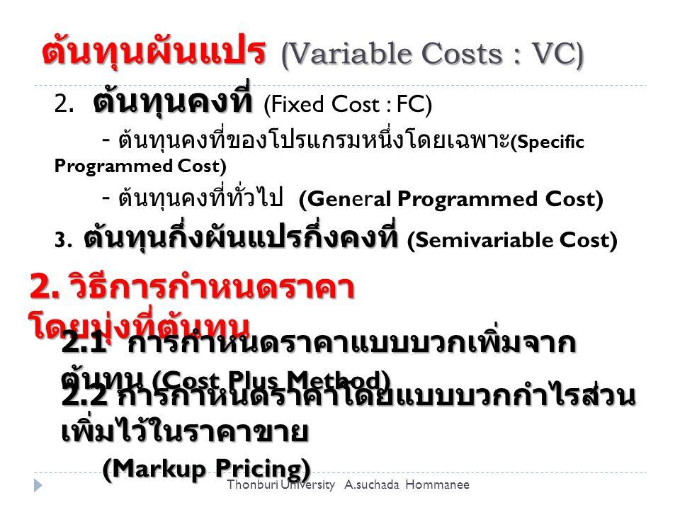 การกำหนดเป้าหมายกำไร (Target Profit Pricing)  นำแนวคิดเรื่องจุดคุ้มทุน (Break Even) มาใช้ใน การกำหนดราคา  การคำนวณกำไรส่วนที่เกิน จากต้นทุนคงที่ ใช้สูตร P Q FC TC (= FC + VC) TR (= P x Q) BEP Profit FC Contribution = P - VC Thonburi University A.suchada Hommanee