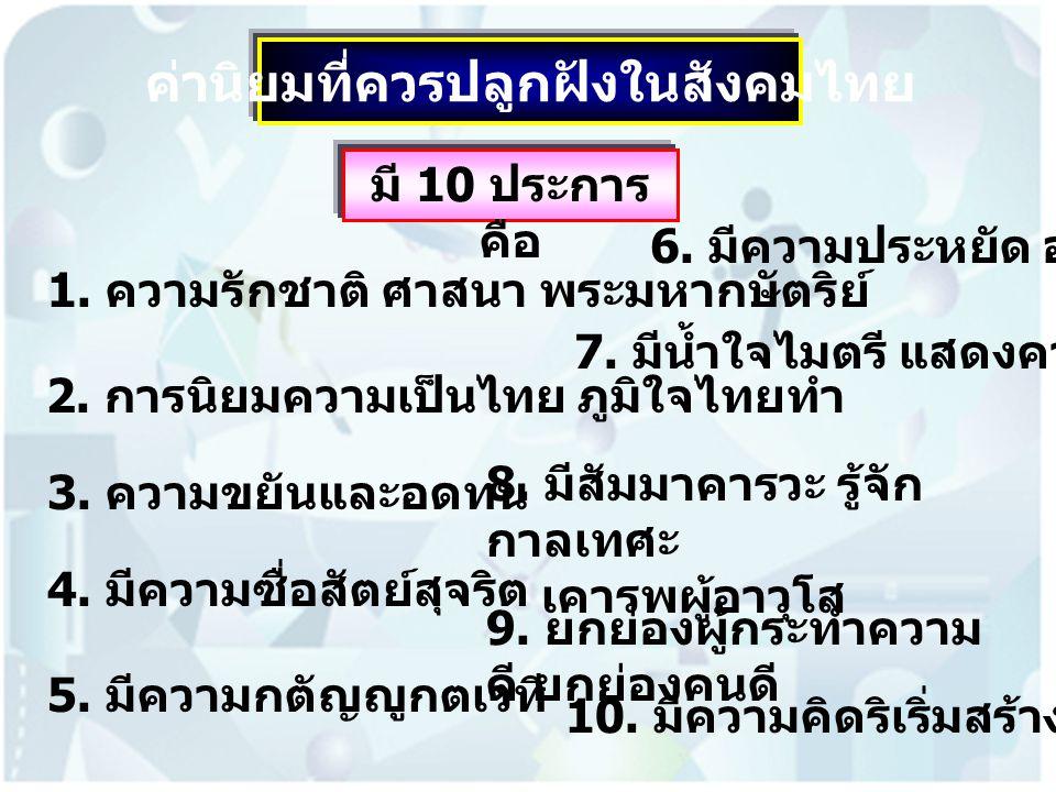 ค่านิยมที่ควรปลูกฝังในสังคมไทย มี 10 ประการ คือ 1. ความรักชาติ ศาสนา พระมหากษัตริย์ 2. การนิยมความเป็นไทย ภูมิใจไทยทำ 3. ความขยันและอดทน 4. มีความซื่อ