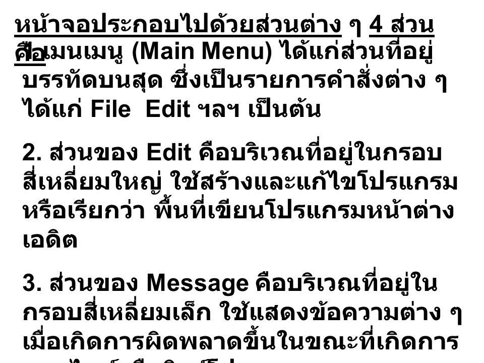 หน้าจอประกอบไปด้วยส่วนต่าง ๆ 4 ส่วน คือ 1 เมนเมนู (Main Menu) ได้แก่ส่วนที่อยู่ บรรทัดบนสุด ซึ่งเป็นรายการคำสั่งต่าง ๆ ได้แก่ File Edit ฯลฯ เป็นต้น 2.