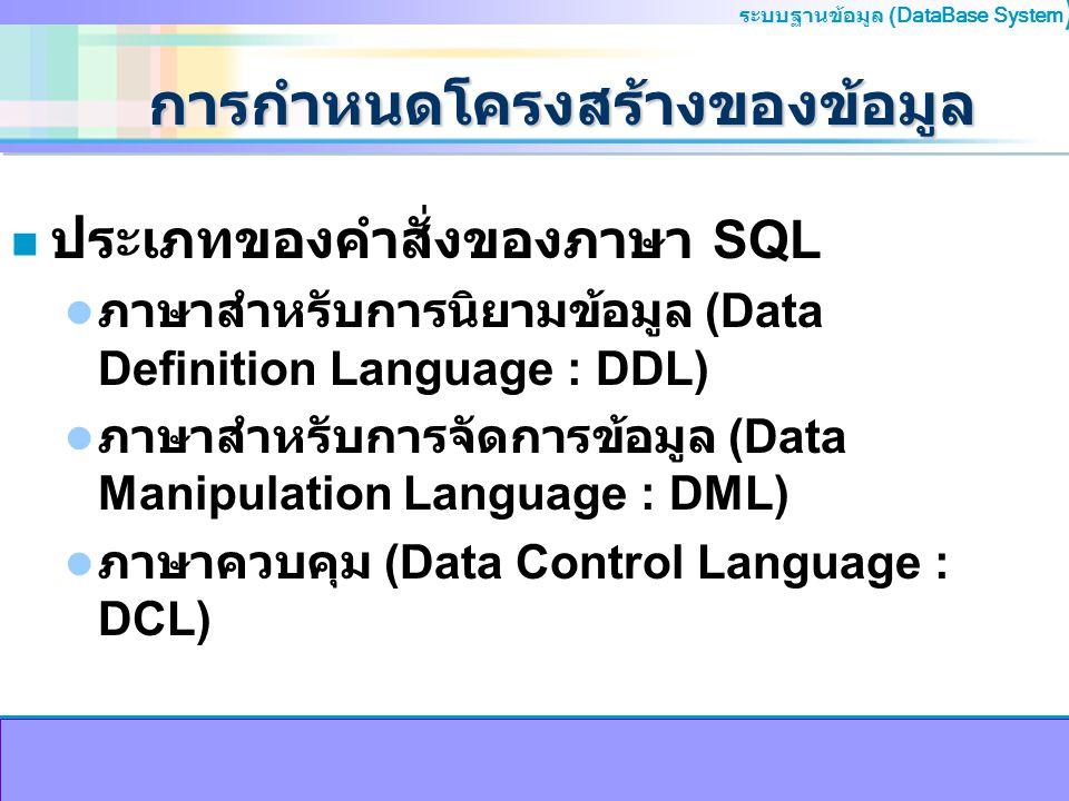ระบบฐานข้อมูล (DataBase System ) การกำหนดโครงสร้างของข้อมูล n ชนิดของข้อมูลที่ใช้ในภาษา SQL ตัวหนังสือ ความยาวคงที่ (Fixed-length Character) จะใช้ char(n) หรือ character(n) ความยาวไม่คงที่ (Variable-length Character) จะใช้ varchar(n) จำนวนเลข มีจุดทศนิยม (Decimal) จะใช้ dec(m,n) หรือ decimal(m,n) ไม่มีจุดทศนิยม (Integer) จะใช้ int, integer (10 หลัก) หรือ smallint (5หลัก) เลขจำนวนจริง (Number) จะใช้ number(n)