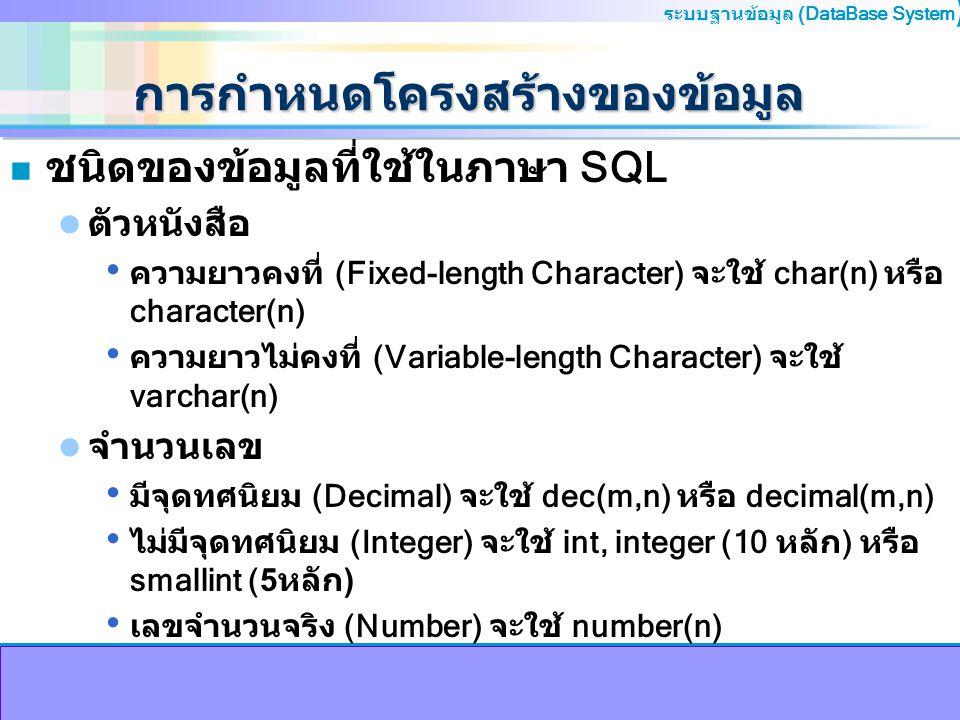 ระบบฐานข้อมูล (DataBase System ) การกำหนดโครงสร้างของข้อมูล n ชนิดของข้อมูลที่ใช้ในภาษา SQL ตัวหนังสือ ความยาวคงที่ (Fixed-length Character) จะใช้ cha