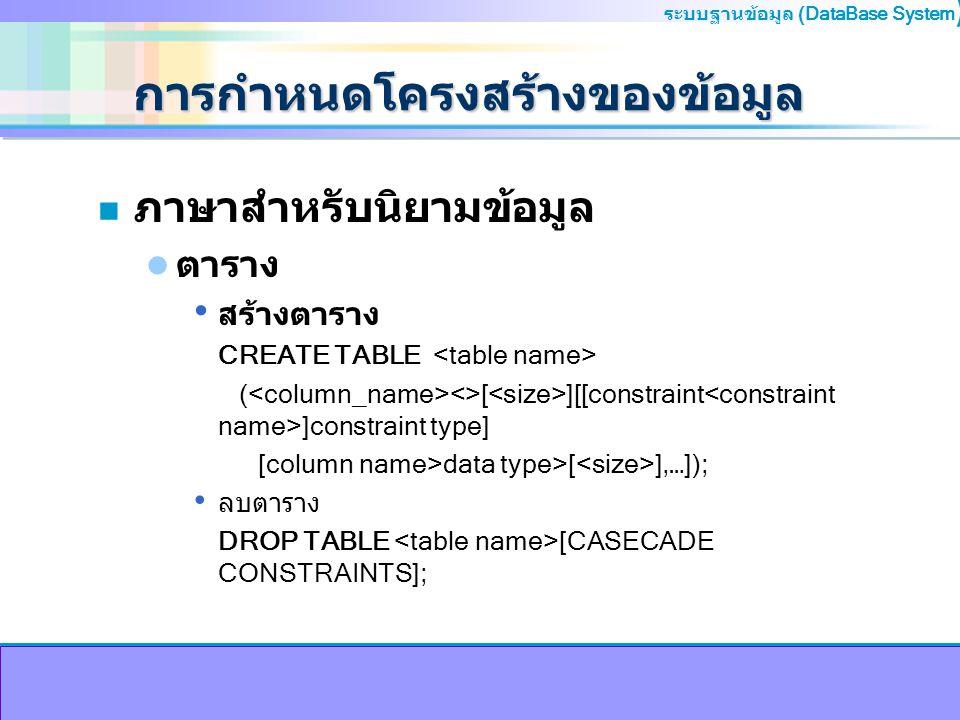ระบบฐานข้อมูล (DataBase System ) การกำหนดโครงสร้างของข้อมูล n ภาษาสำหรับนิยามข้อมูล ตาราง สร้างตาราง CREATE TABLE ( <>[ ][[constraint ]constraint type