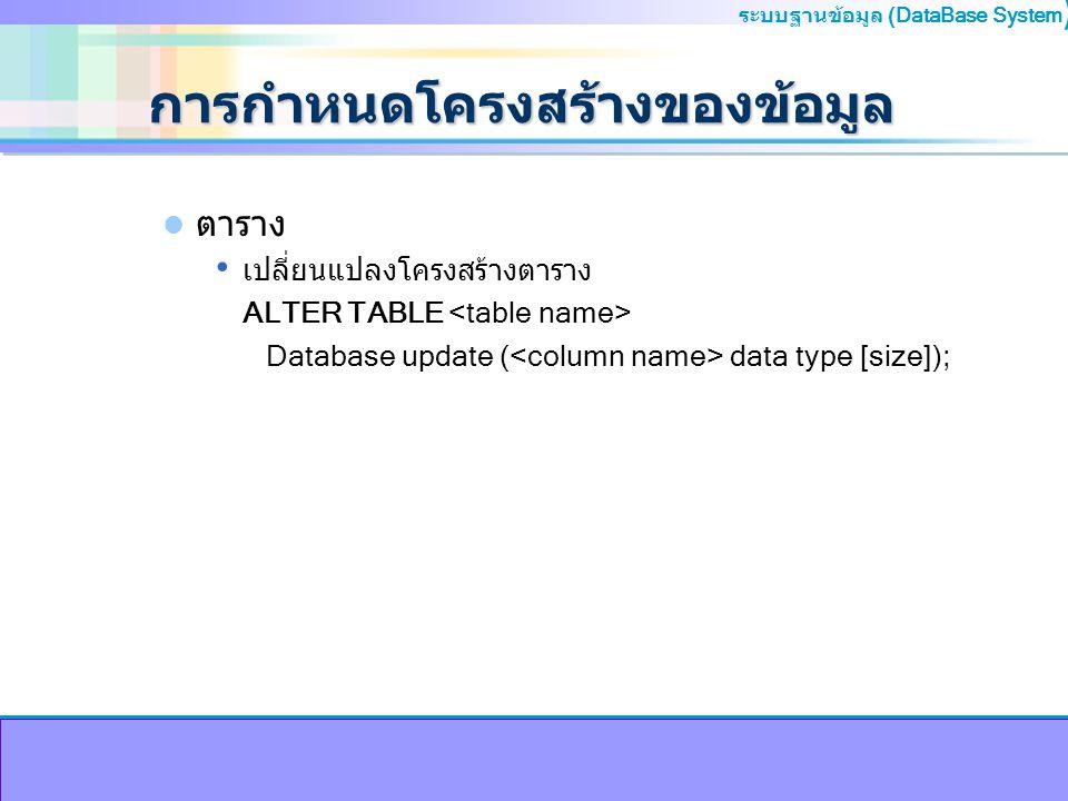 ระบบฐานข้อมูล (DataBase System ) การกำหนดโครงสร้างของข้อมูล ตาราง เปลี่ยนแปลงโครงสร้างตาราง ALTER TABLE Database update ( data type [size]);