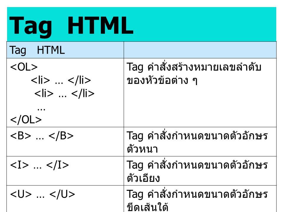 Tag HTML … Tag คำสั่งสร้างหมายเลขลำดับ ของหัวข้อต่าง ๆ … Tag คำสั่งกำหนดขนาดตัวอักษร ตัวหนา … Tag คำสั่งกำหนดขนาดตัวอักษร ตัวเอียง … Tag คำสั่งกำหนดขน