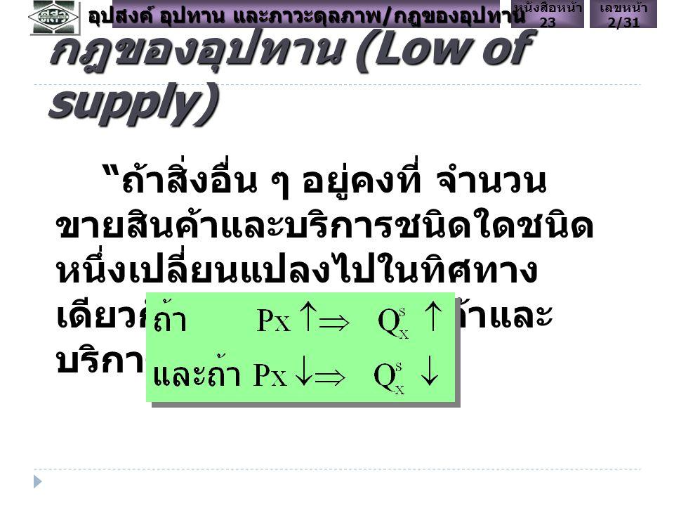 กฎของอุปทาน (Low of supply) ถ้าสิ่งอื่น ๆ อยู่คงที่ จำนวน ขายสินค้าและบริการชนิดใดชนิด หนึ่งเปลี่ยนแปลงไปในทิศทาง เดียวกันกับราคาของสินค้าและ บริการชนิดนั้นเสมอ เลขหน้า 2/31 หนังสือหน้า 23 อุปสงค์ อุปทาน และภาวะดุลภาพ / กฎของอุปทาน
