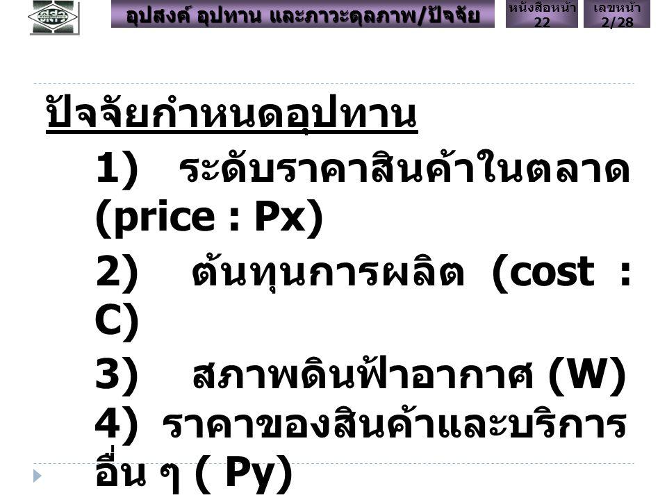 ปัจจัยกำหนดอุปทาน 1) ระดับราคาสินค้าในตลาด (price : Px) 2) ต้นทุนการผลิต (cost : C) 3) สภาพดินฟ้าอากาศ (W) 4) ราคาของสินค้าและบริการ อื่น ๆ ( Py) 6) เทคโนโลยี (technology : T) เลขหน้า 2/28 หนังสือหน้า 22 อุปสงค์ อุปทาน และภาวะดุลภาพ / ปัจจัย