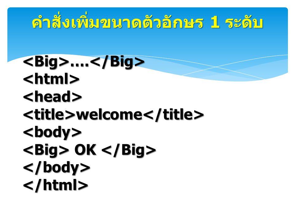 คำสั่งเพิ่มขนาดตัวอักษร 1 ระดับ <Big>….</Big><html><head><title>welcome</title><body> OK OK </body></html>