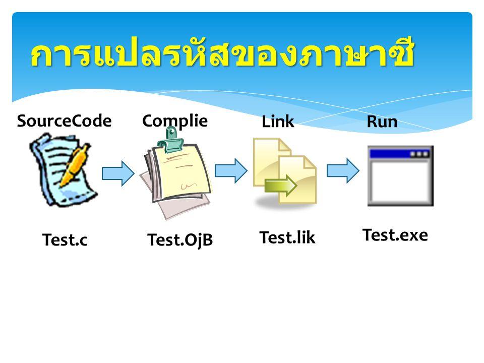 โปรแกรมจะนำ Source Code ( โปรแกรมที่เขียนขึ้น ) ที่มีชนิดของ ไฟล์เป็น.C มา Compile ( แปล ) ให้ เป็น ออบเจ็กต์โค้ด (Object code) คือ ภาษาเครื่อง ) ได้ไฟล์ที่มีชนิดไฟล์เป็น.OBJ ขั้นตอนการรันโปรแกรม (Run) ในขณะนี้อาจมีข้อผิดพลาดเกิดขึ้น ซึ่ง เรียกว่า Run time error โปรแกรมจะ หยุด ต้องแก้ไข error ก่อนแล้วจึงจะ ทำการลิงค์ (link คือการรวมโปรแกรม ย่อยเข้ากับโปรแกรมหลัก ) ได้ไฟล์ที่มี ชนิดข้อมูลเป็น.EXE