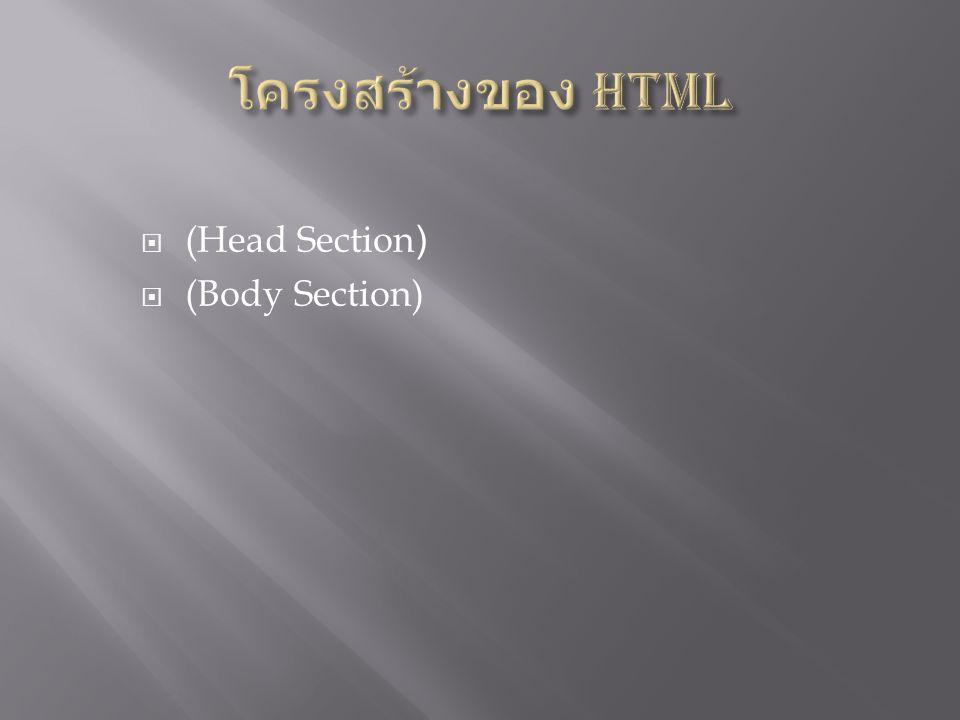 Head Section เป็นส่วนที่ใช้อธิบายเกี่ยวกับ ข้อมูลเฉพาะของหน้าเว็บนั้นๆ เช่น ชื่อเรื่องของ หน้าเว็บ (Title), ชื่อผู้จัดทำเว็บ (Author), คีย์ เวิร์ดสำหรับการค้นหา (Keyword)