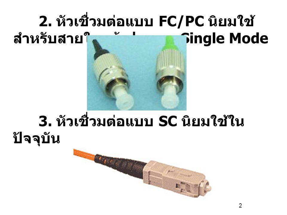 2 2.หัวเชื่วมต่อแบบ FC/PC นิยมใช้ สำหรับสายใยแก้วประเภท Single Mode 3.