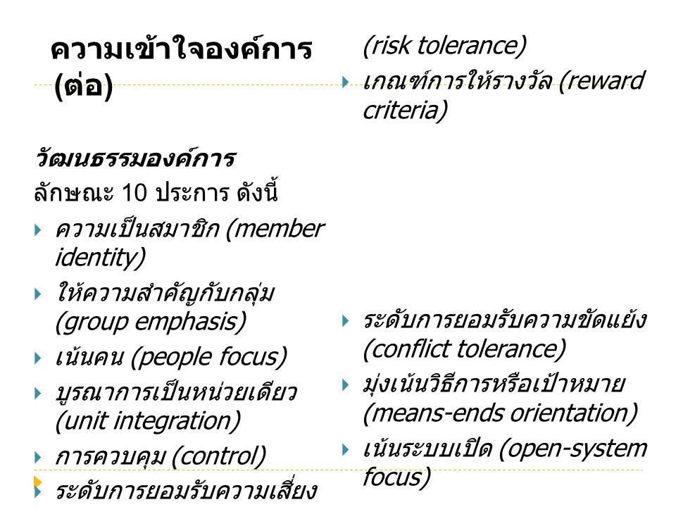 ความเข้าใจองค์การ ( ต่อ ) วัฒนธรรมองค์การ ลักษณะ 10 ประการ ดังนี้  ความเป็นสมาชิก (member identity)  ให้ความสำคัญกับกลุ่ม (group emphasis)  เน้นคน