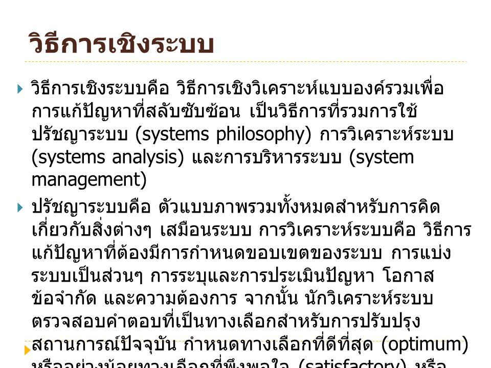 วิธีการเชิงระบบ  วิธีการเชิงระบบคือ วิธีการเชิงวิเคราะห์แบบองค์รวมเพื่อ การแก้ปัญหาที่สลับซับซ้อน เป็นวิธีการที่รวมการใช้ ปรัชญาระบบ (systems philoso