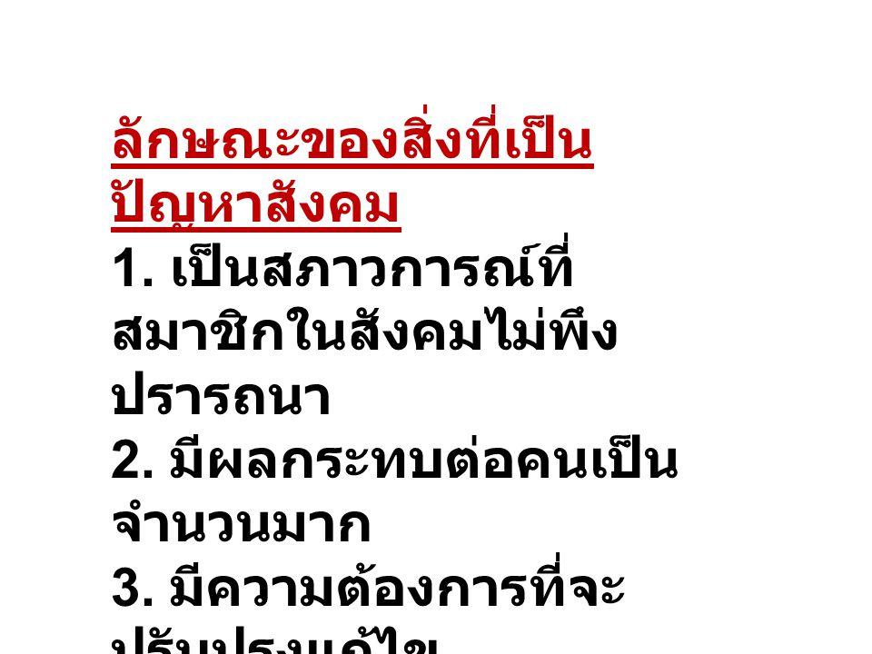 ตัวอย่างที่เป็นปัญหา สังคมไทย ได้แก่ ปัญหาความยากจน ปัญหาการกระจาย รายได้ ปัญหาการฉ้อราษฎร์บัง หลวง ปัญหายาเสพติดให้ โทษ ปัญหาการว่างงาน ปัญหาสิ่งแวดล้อม ปัญหาโรคเอดส์